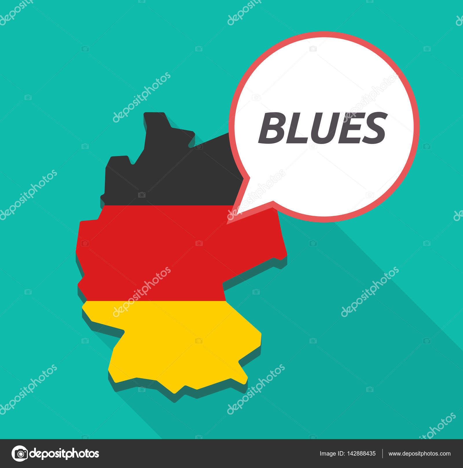 long shadow germany map with the text blues stock vector jpgon