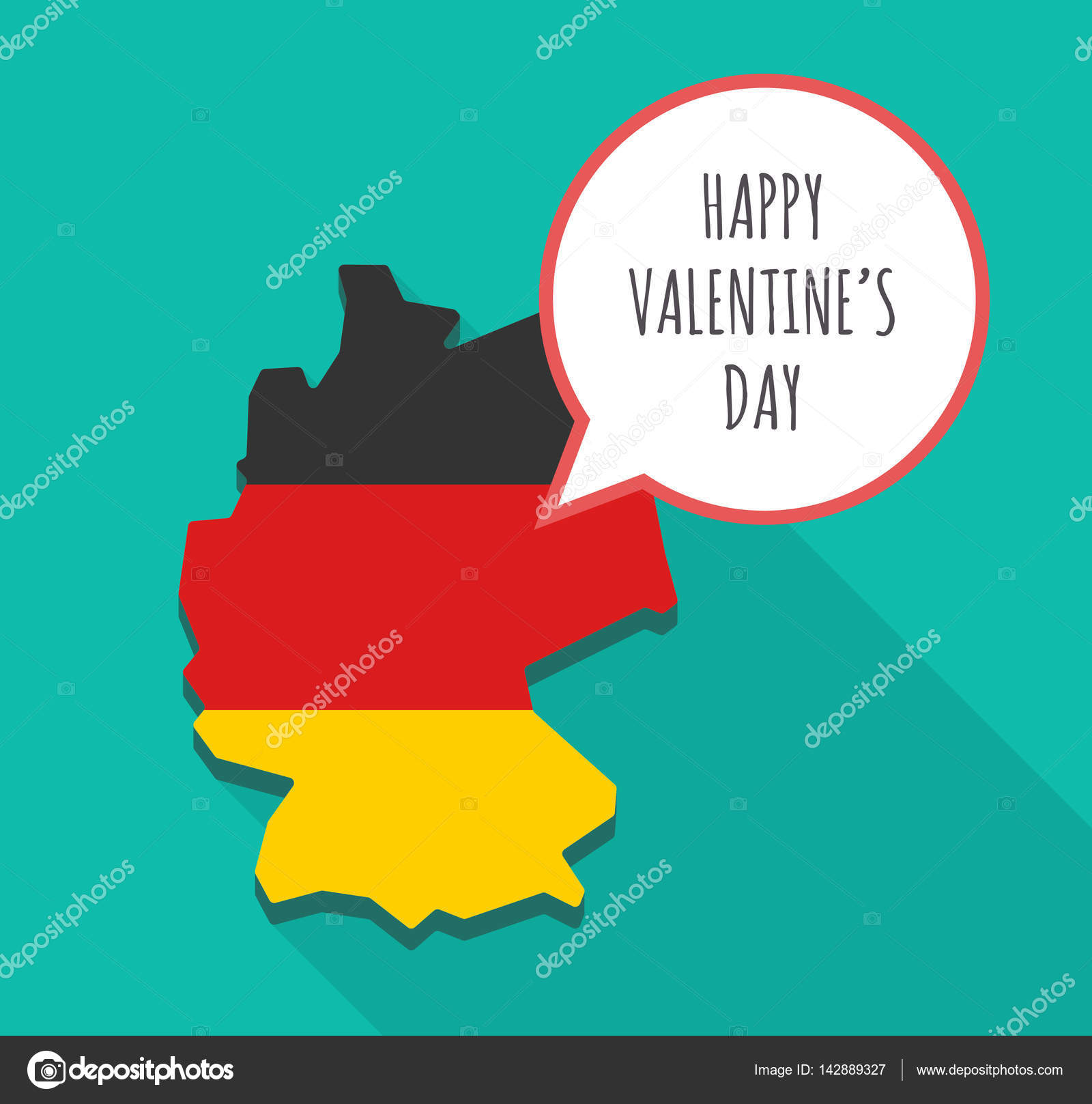 long shadow germany map with the text happy valentines day stock vector