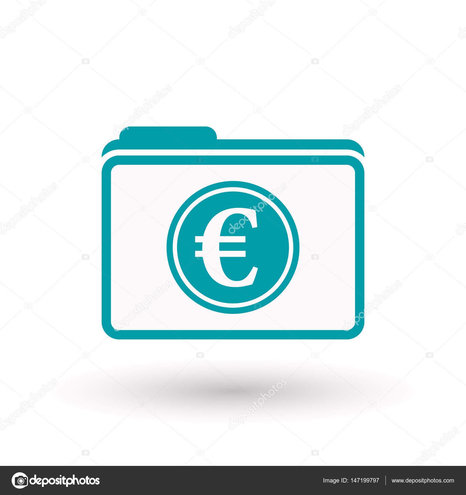Isolierten Ordner Mit Ein Euro Münze Stockvektor Jpgon 147199797