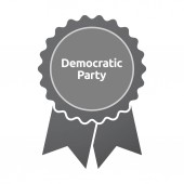 Isolated badge with  the text Democratic  Party