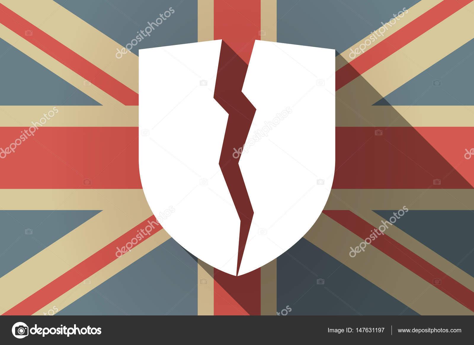 Sombra larga bandera de Reino Unido con un escudo roto — Archivo ...