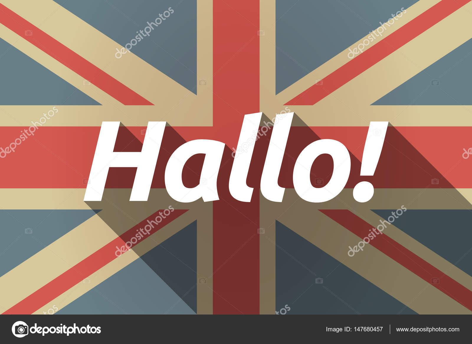 Long Shadow Uk Flag With The Text Hello In The German Language