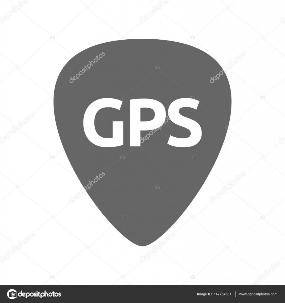 Isolierte Gitarre Plektrum mit dem Global Positioning System-acr ...