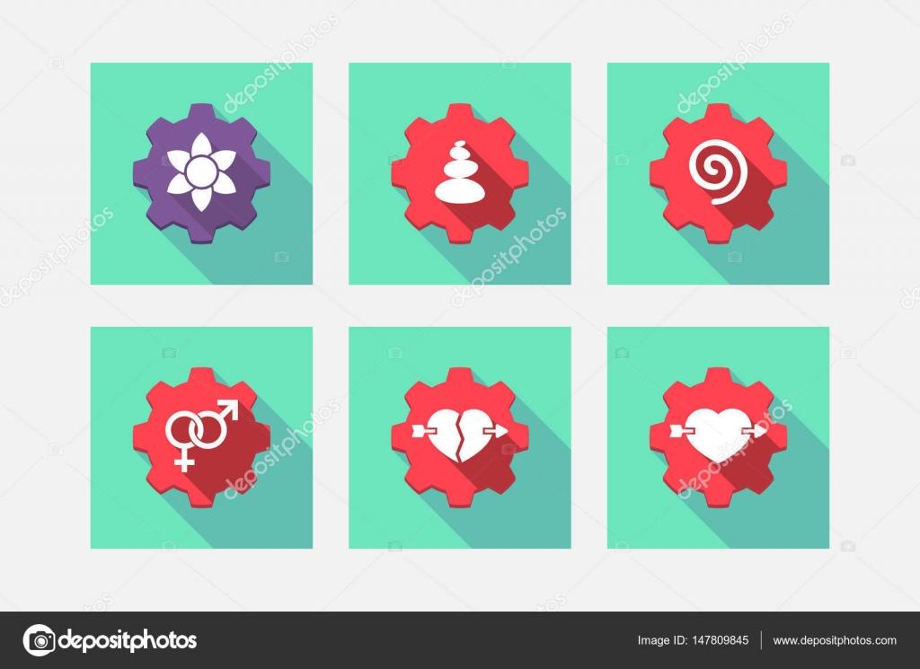 Conjunto de engrenagens com Zen e ícones relacionados ao