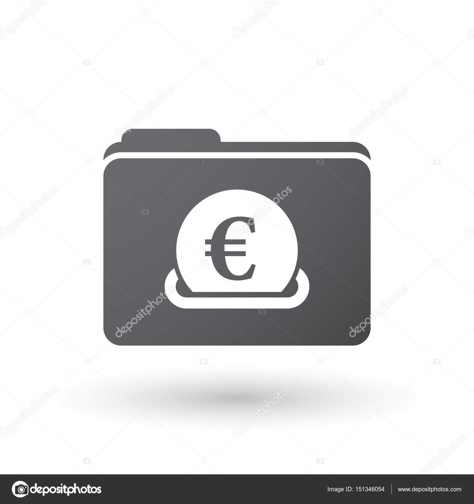 Isolierten Ordner Signal Mit Ein Euro Münze Die Eingabe In Ein
