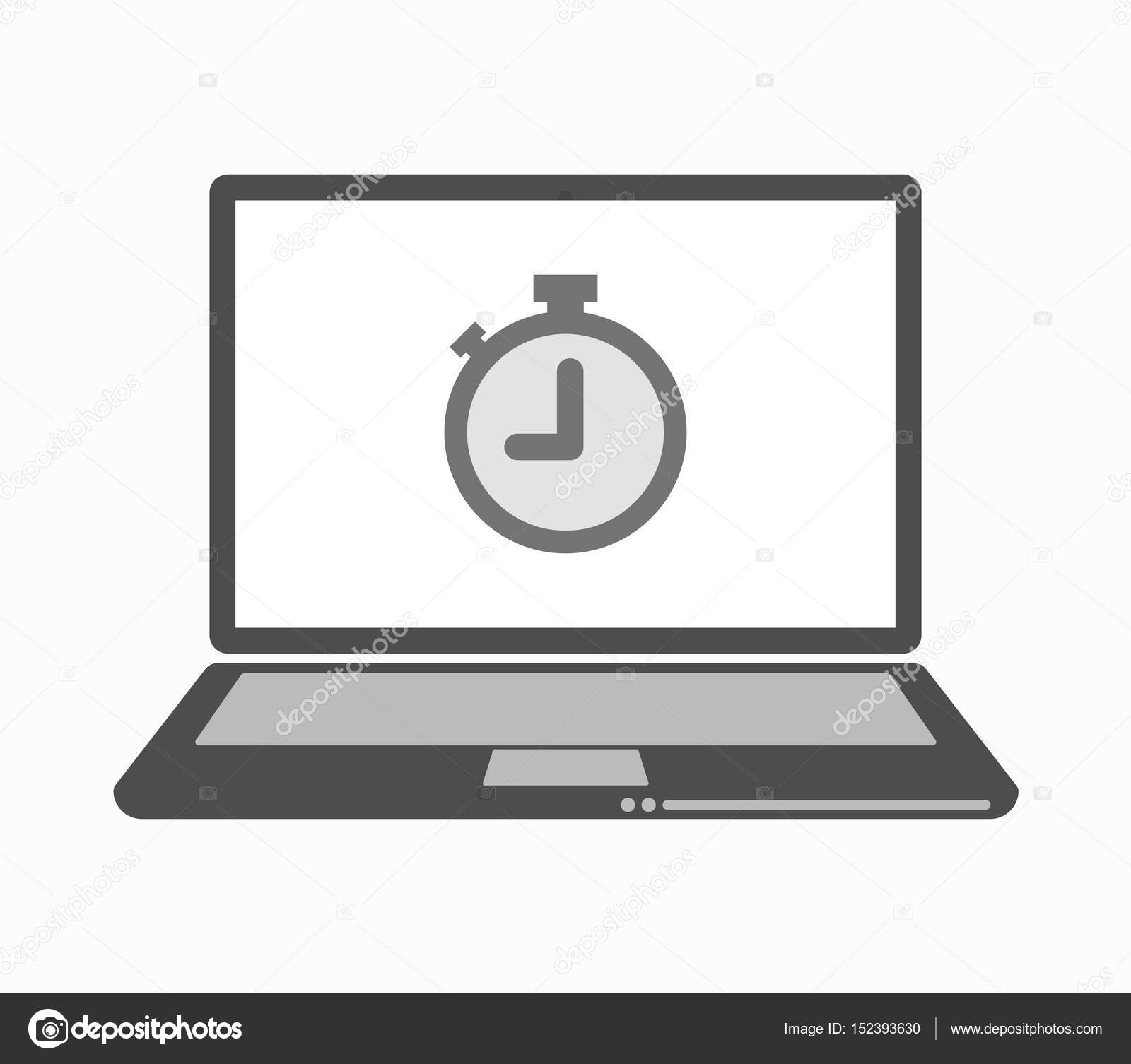 isolated line art laptop with a timer stock vector jpgon 152393630