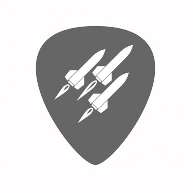 Isolated guitar plectrum with missiles