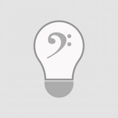 Isolated light bulb with an F clef