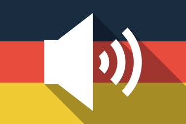 Long shadow Germany flag with  a speaker volume sign