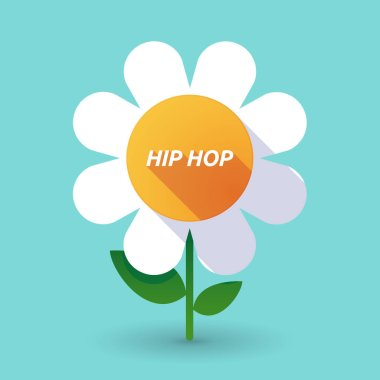 Long shadow flower with    the text HIP HOP