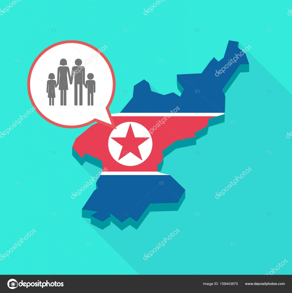 Long Shadow North Korea Map With A Conventional Family Pictogram