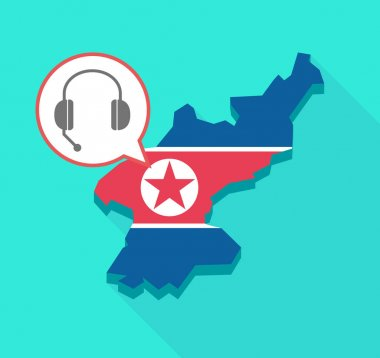 Long shadow North Korea map with  a hands free phone device