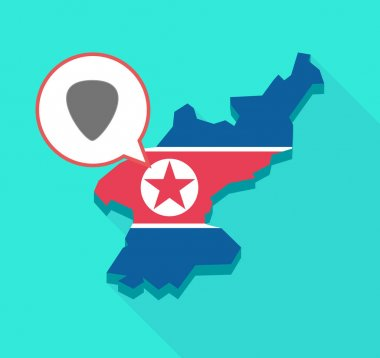 Long shadow North Korea map with a plectrum