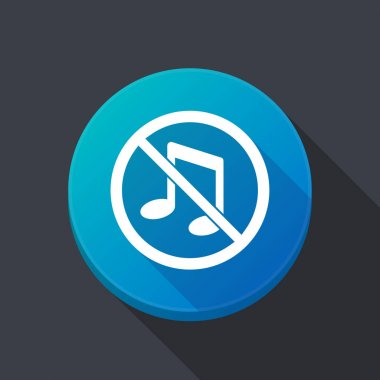 Long shadow button with  a musical note  in a not allowed signal