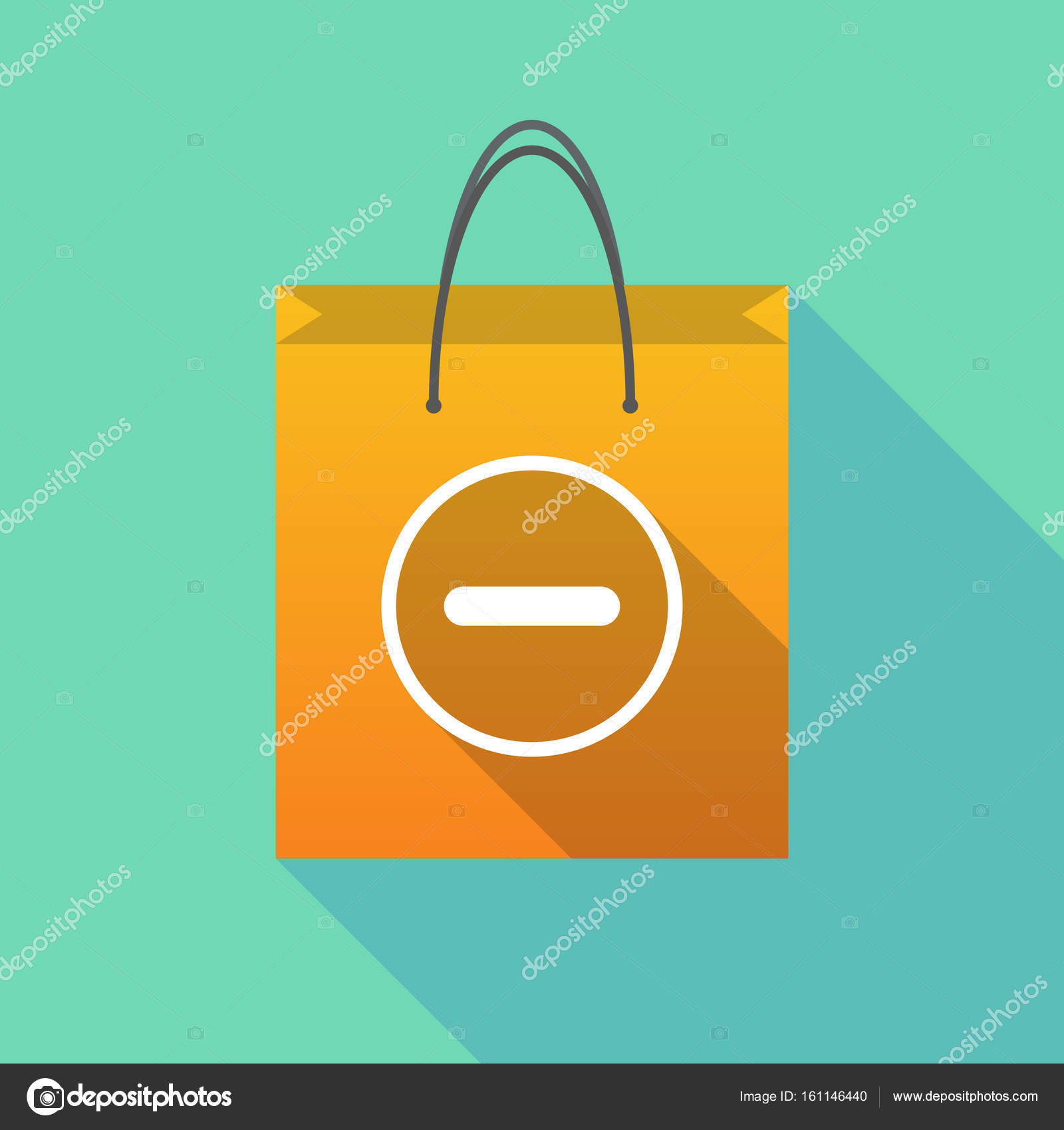 Long shadow shopping bag with a subtraction sign — Stock Vector ...