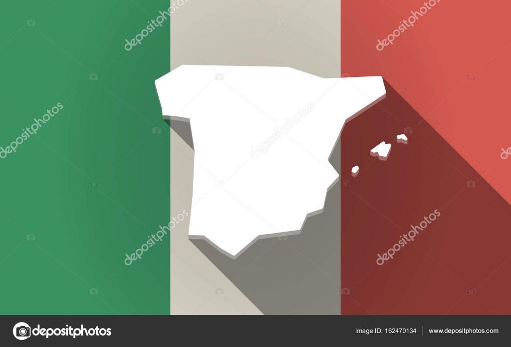 Karta Italien Spanien.Langa Skugga Italien Flagga Med Karta Over Spanien Stock Vektor