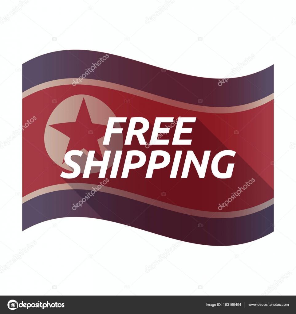 00d3c6880e Isolado a bandeira da Coreia do Norte com o texto frete grátis — Vetor de  Stock