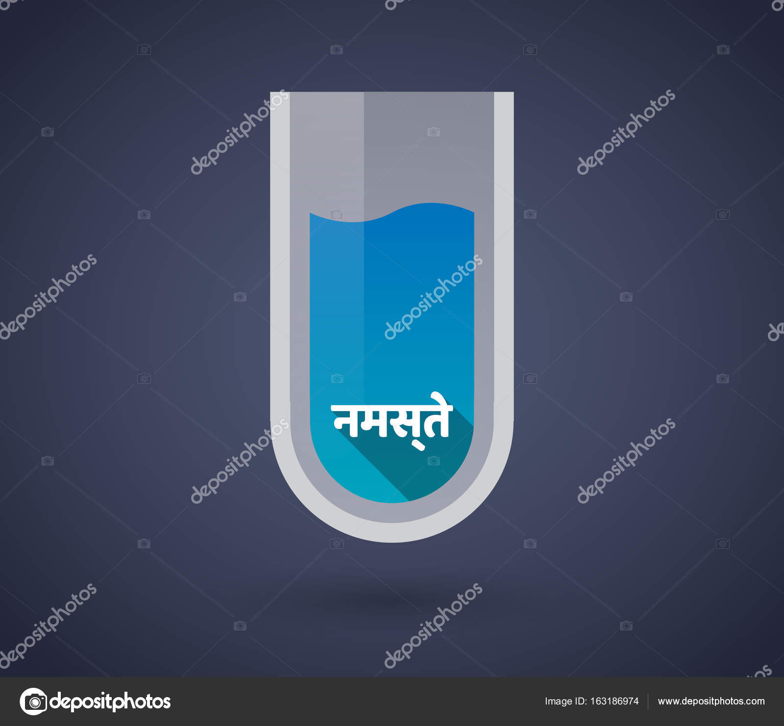 Chemical test tube with the text Hello in the hindi language