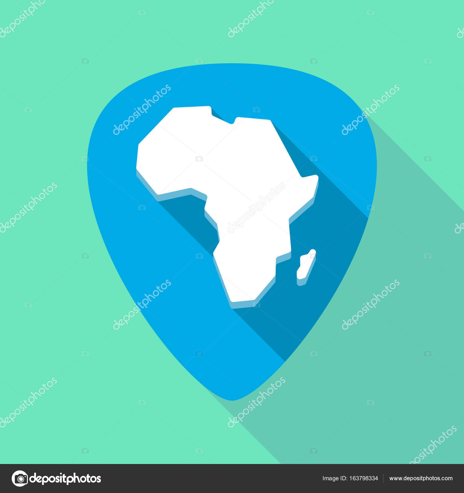 Long shadow plectrum with a map of the african continent — Stock ...