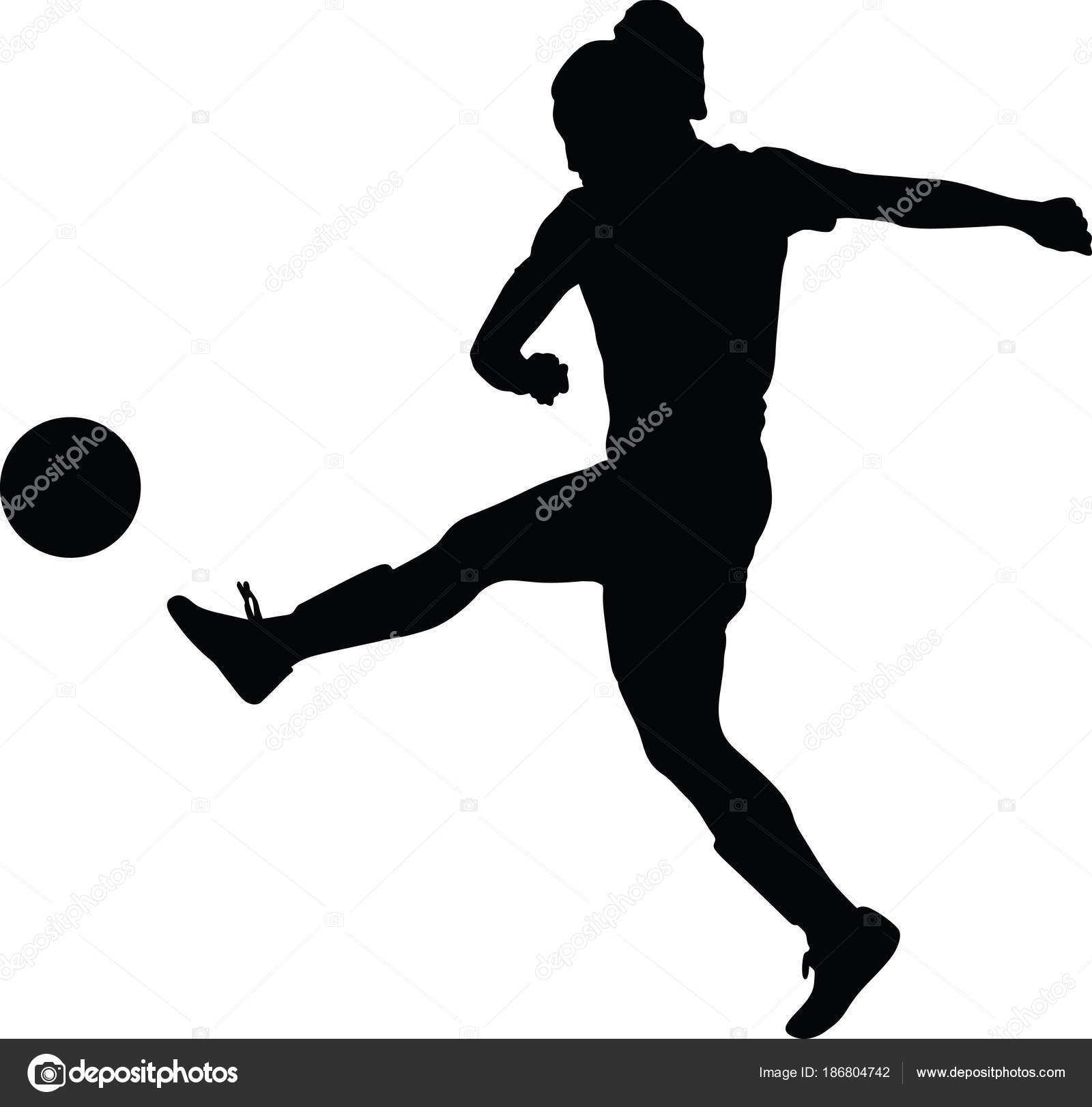 Fussball Frauen Silhouette Madchen Spieler Stockvektor