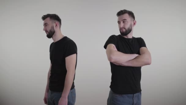 Double exposure of young handsome man feeling confident and depressed. Same brunette guy expressing confidence and anxiety on white background. Lifestyle, individuality.