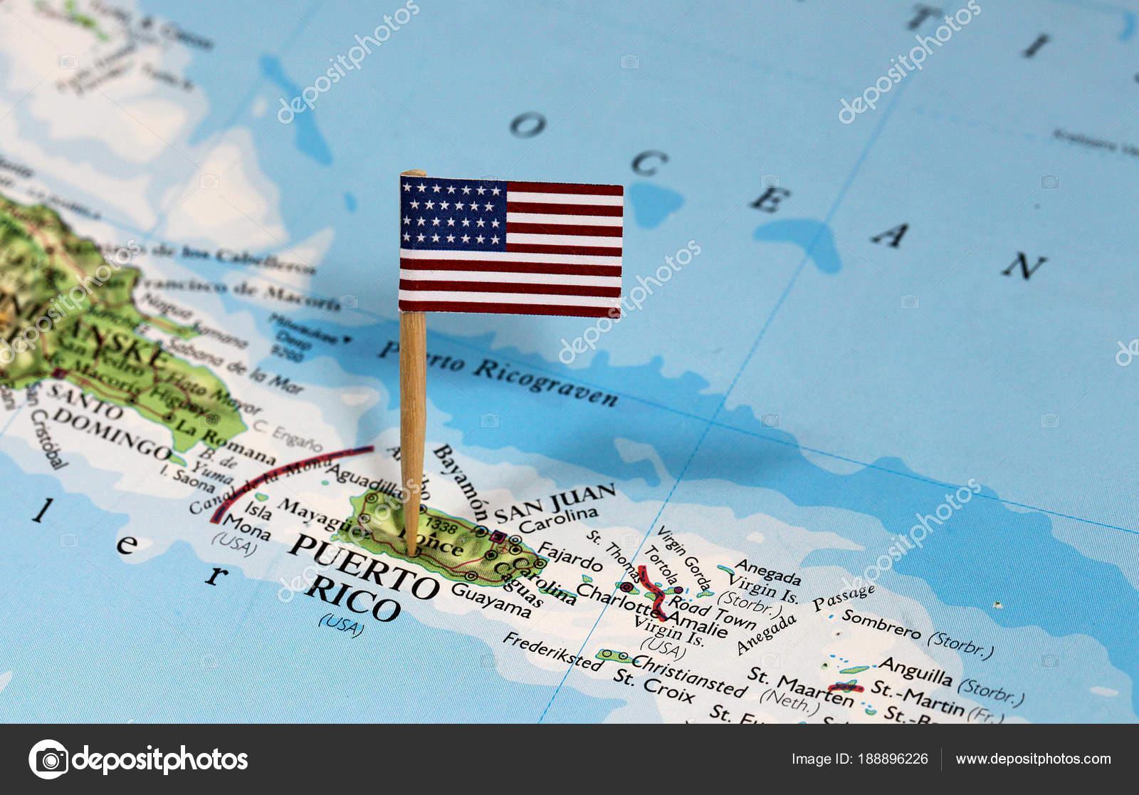 porto rico mapa Mapa Pino Ponto Porto Rico Bandeira — Fotografias de Stock  porto rico mapa