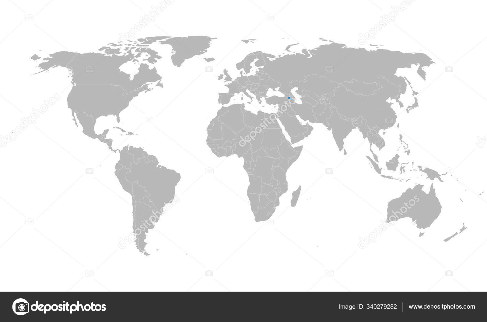 Picture of: Armenia Country Highlighted Blue On World Map Stock Vector C Rasik Niceguy Gmail Com 340279282