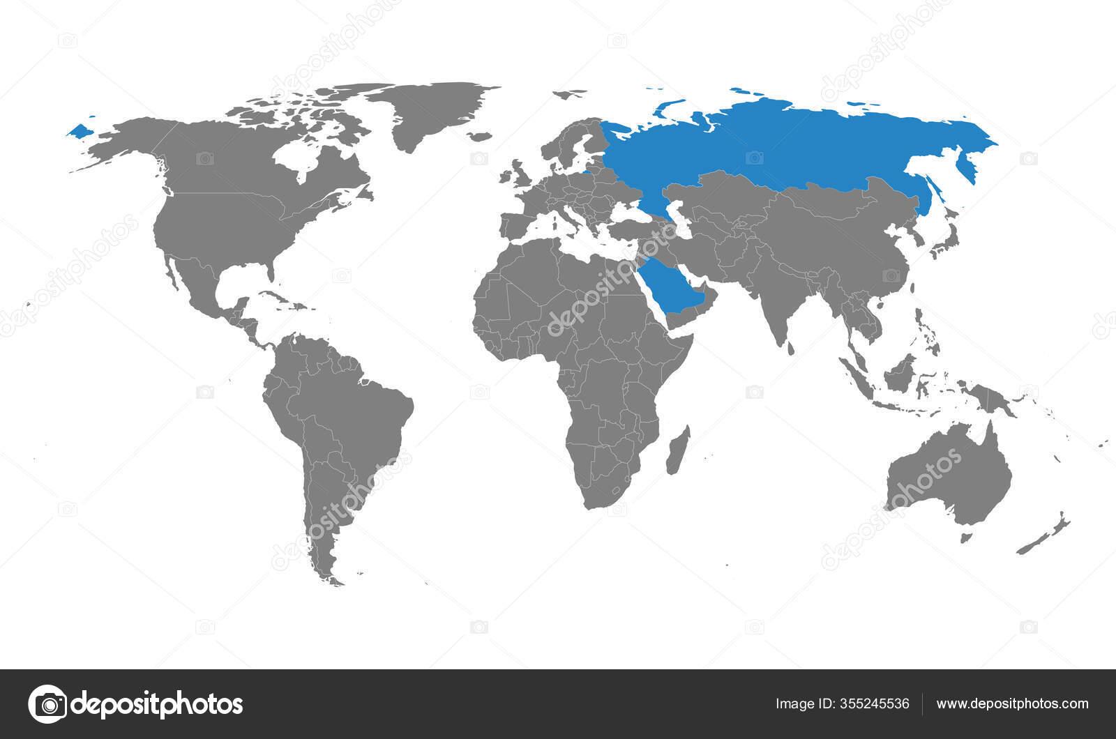 Saudi Arabia Usa Countries Highlighted World Map Gray Background Perfect Stock Vector C Rasik Niceguy Gmail Com 355245536