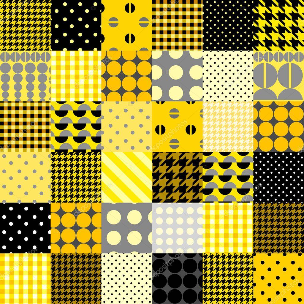 9b70e546cc34 Žlutý patchwork vzor — Stock Vektor © kastanka  129041952