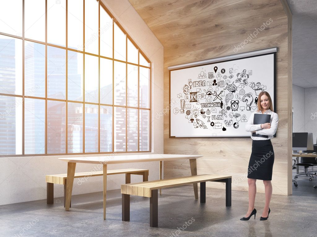 office canteen. Woman In Office Canteen With Poster \u2014 Stock Photo