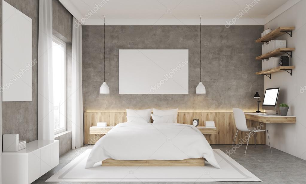 Interior de dormitorio de paredes de hormigón — Fotos de Stock ...