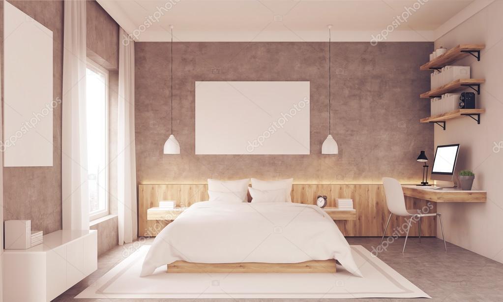 Luminosa camera da letto con angolo studio — Foto Stock ...