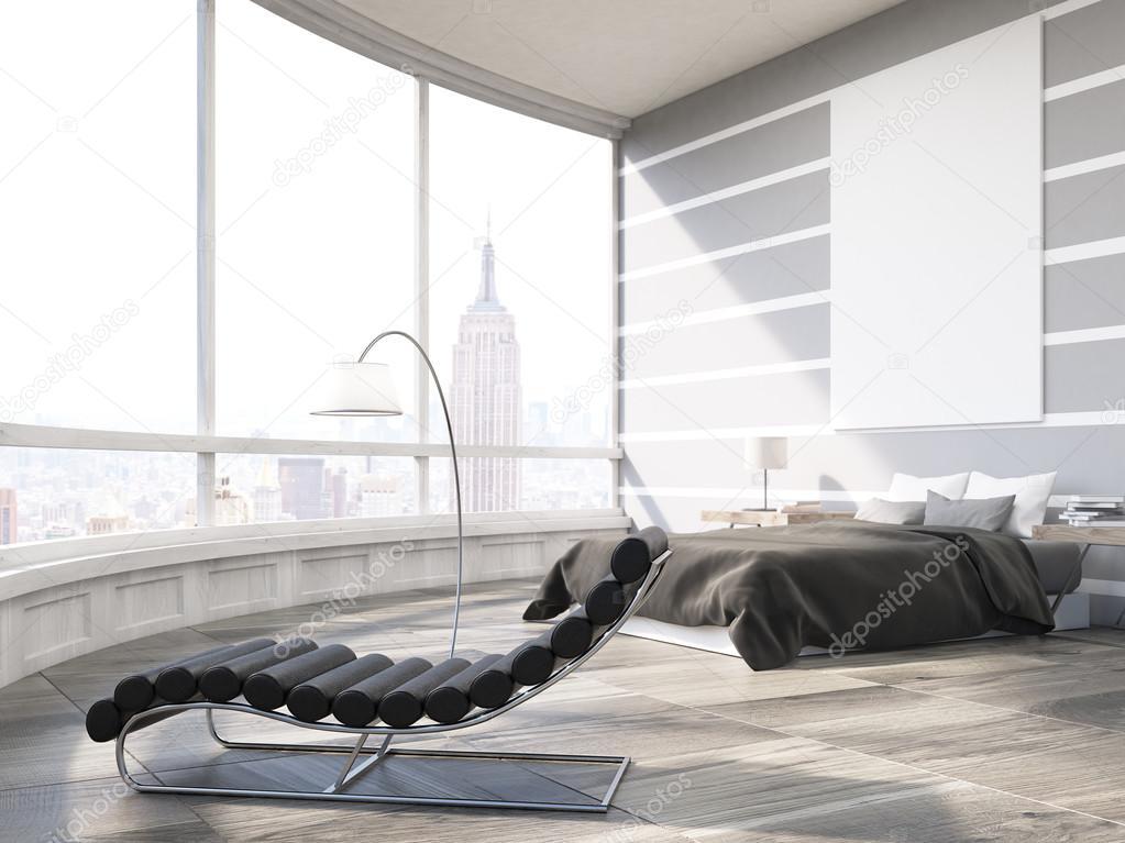 Camera Da Letto Principale Di New York City In Appartamento Moderno
