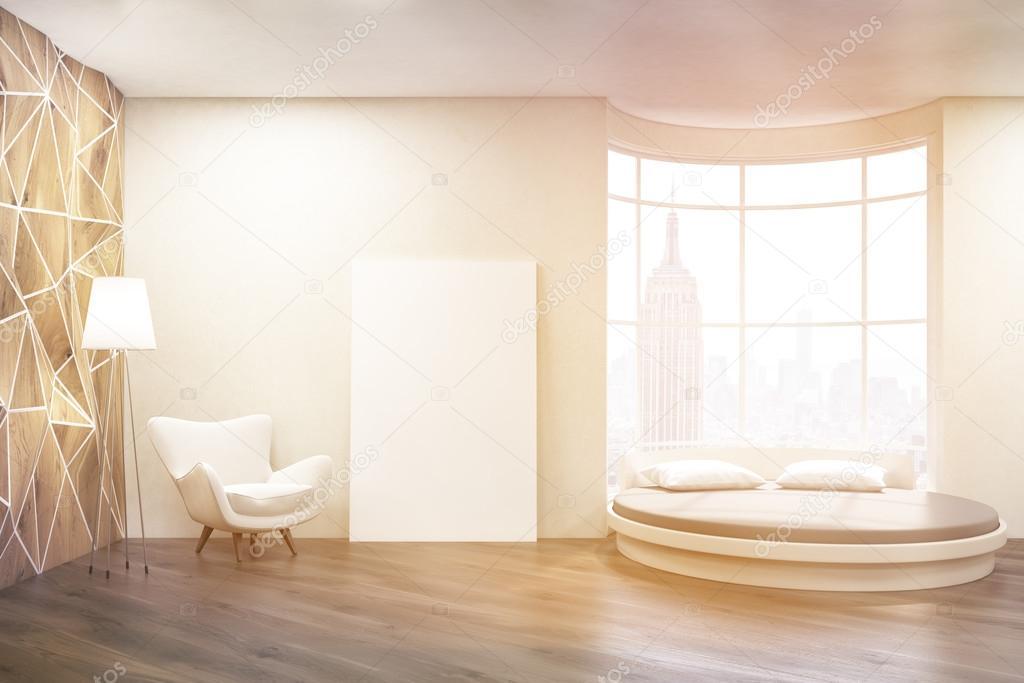 Luminosa camera da letto con letto rotondo — Foto Stock ...