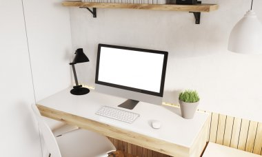 Computer on desk at home