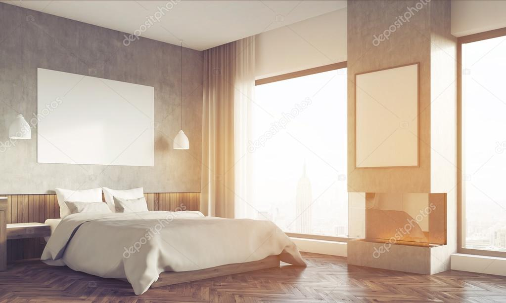 bedroom side view. Side View Of Sunlit Bedroom And Home Office \u2014 Stock Photo E