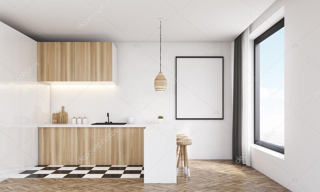 Moderne Keuken Lampen : Moderne keuken met houten lamp u stockfoto denisismagilov