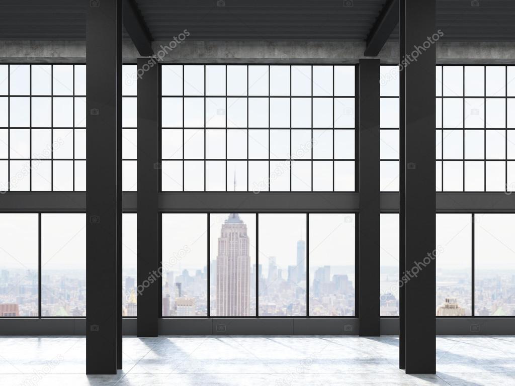 new york blick durch loft fenster stockfoto. Black Bedroom Furniture Sets. Home Design Ideas
