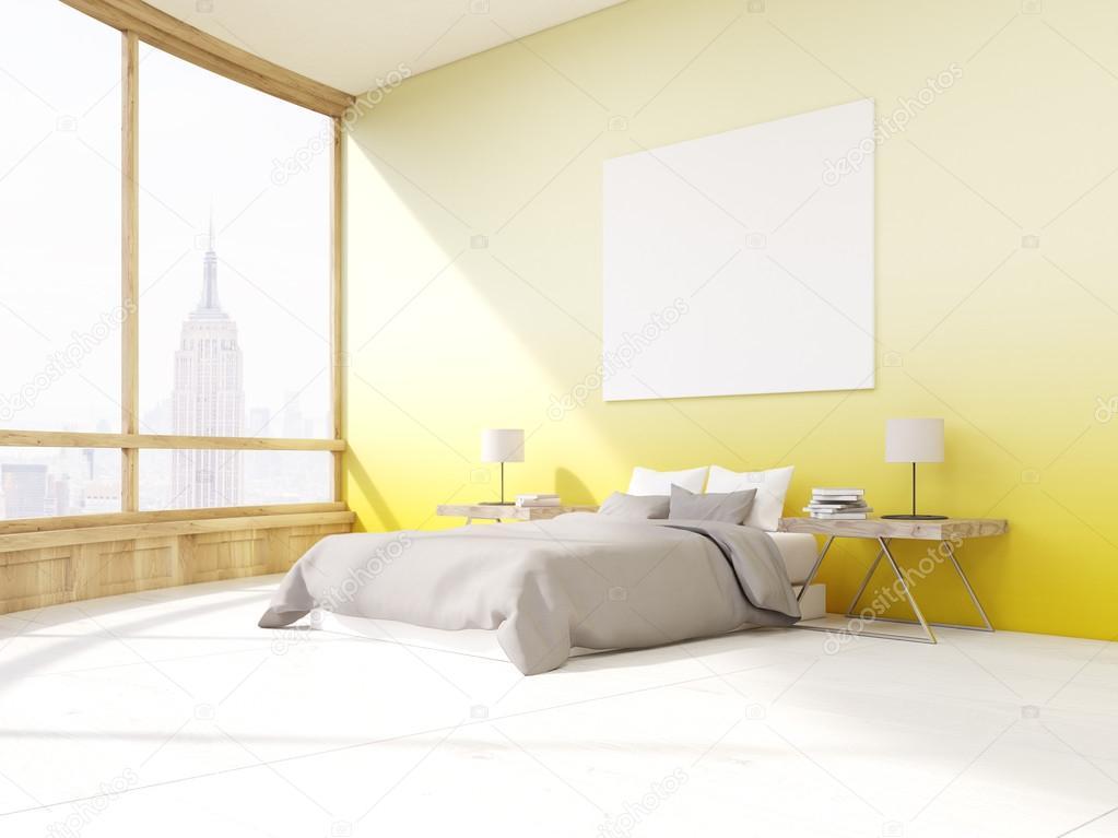 Slaapkamer met gele muren in New York — Stockfoto © denisismagilov ...