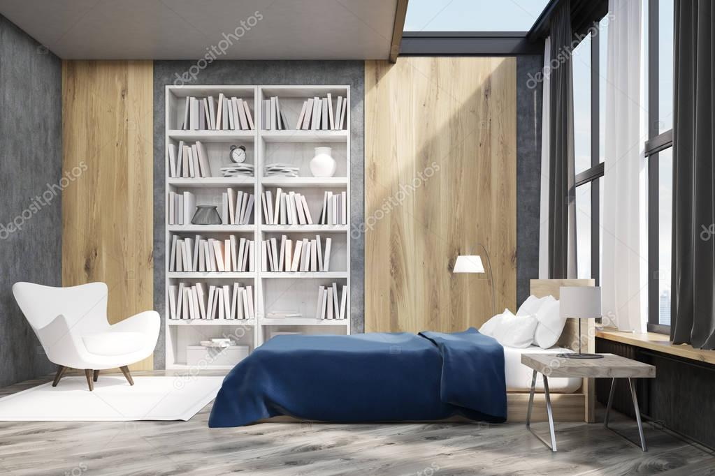 Interno camera da letto con libreria u foto stock denisismagilov