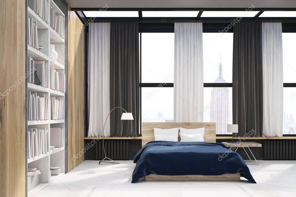 New York slaapkamer interieur met boekenkast — Stockfoto ...