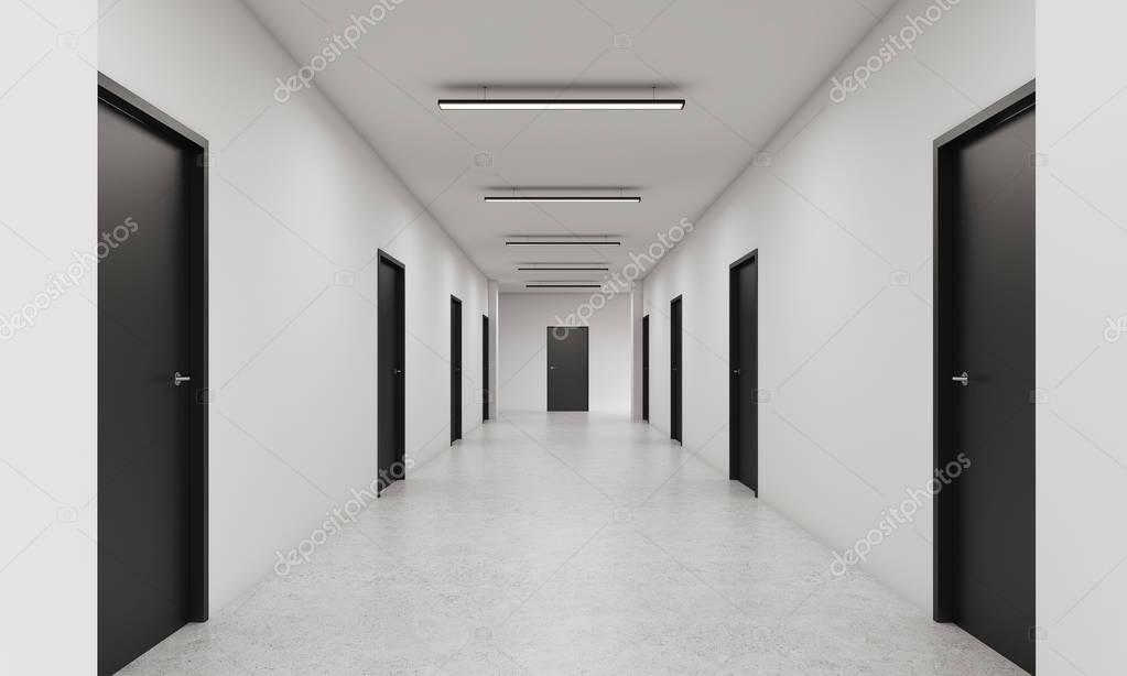 langen gang mit schwarzen t ren stockfoto denisismagilov 129375492. Black Bedroom Furniture Sets. Home Design Ideas
