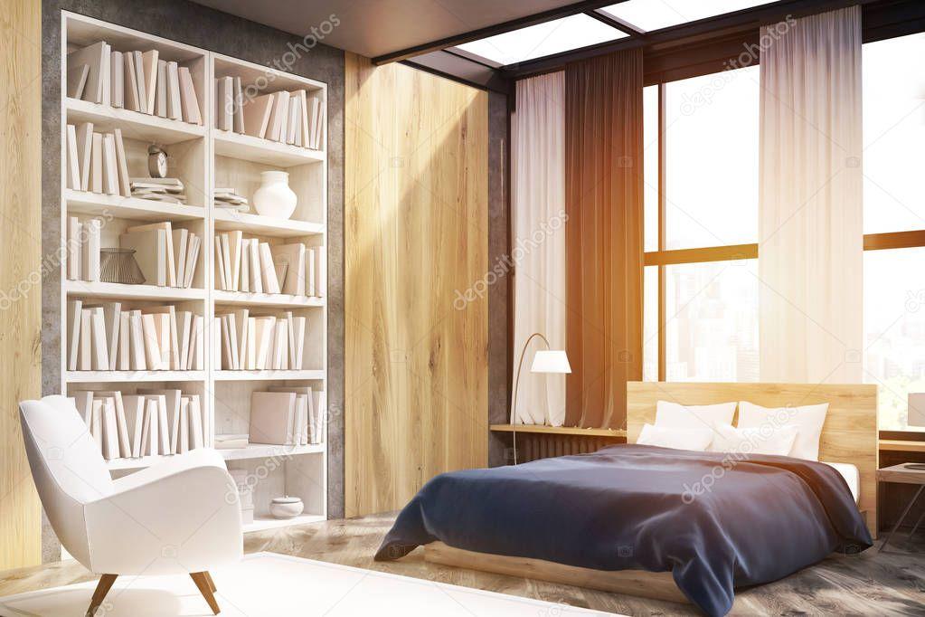 Angolo dell\'interiore della camera da letto con libreria, tonica ...