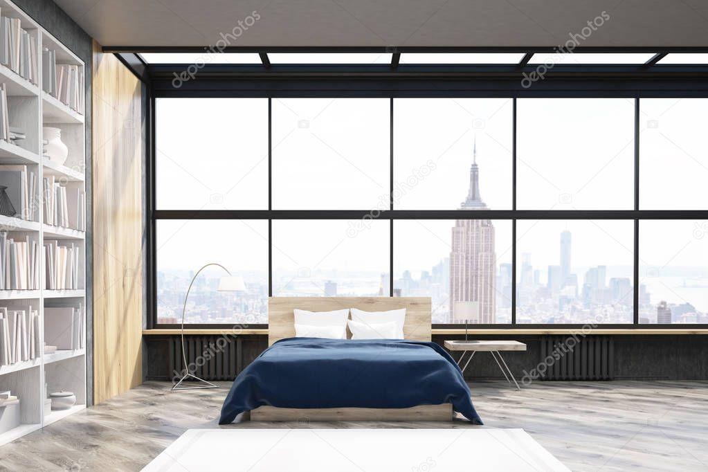 Uitzicht op New York slaapkamer met poster en boekenkast — Stockfoto ...