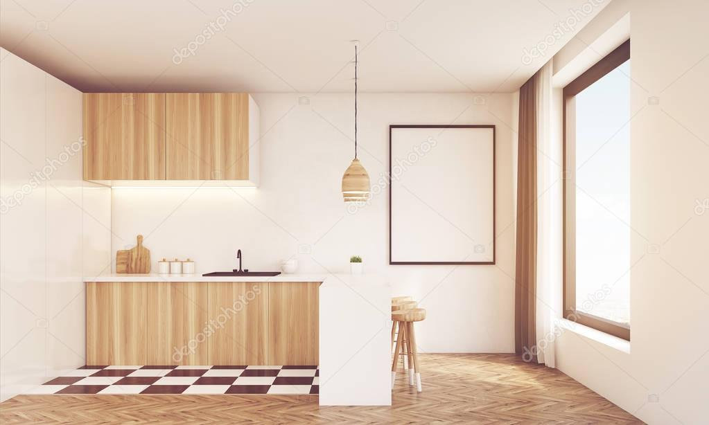 Moderne Keuken Lampen : Moderne keuken met houten lamp afgezwakt u stockfoto