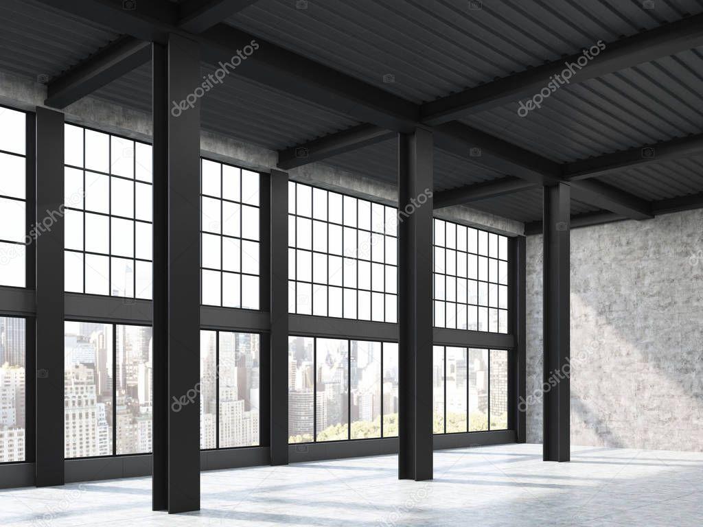 Fenster Loft blick auf die stadt durch loft fenster stockfoto denisismagilov