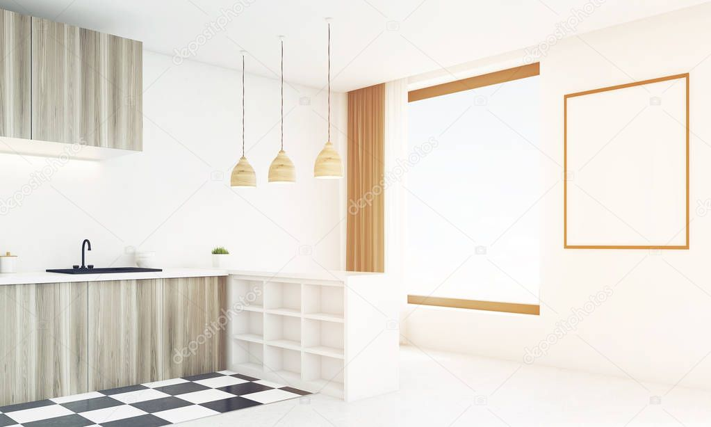 Rincón de luz cocina madera en un día brillante, tonificada — Fotos ...