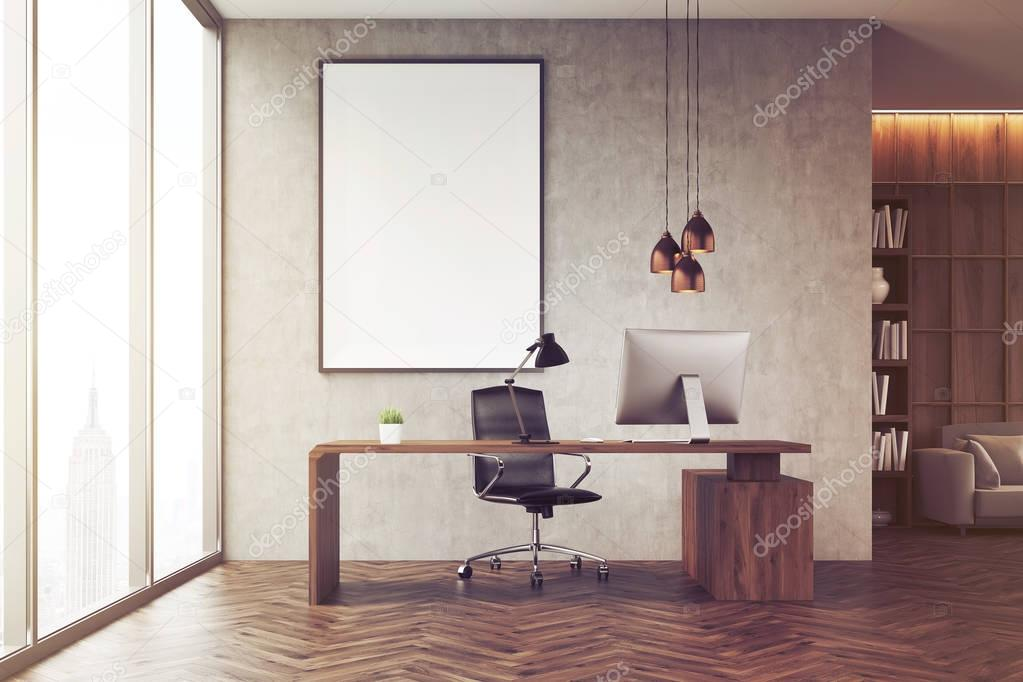 ceo bureau met boekenkast afgezwakt stockfoto