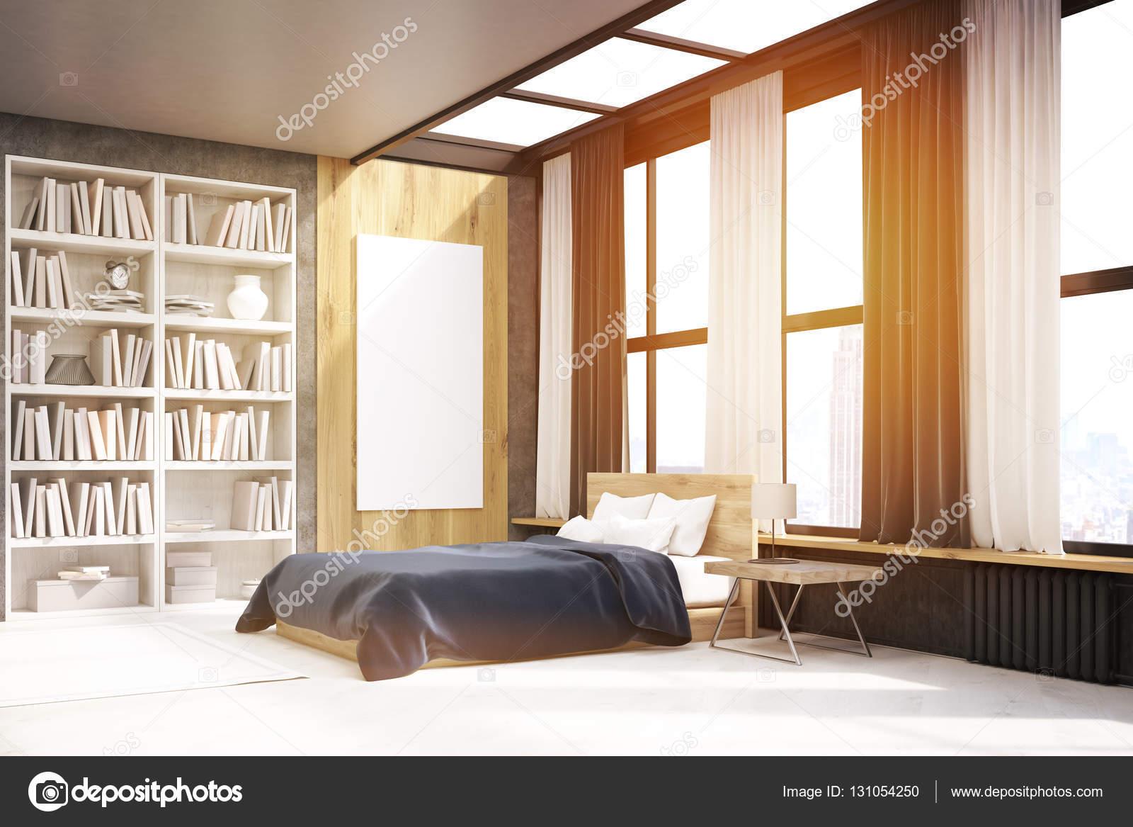 Vista della camera da letto con poster e libreria tonica u2014 foto