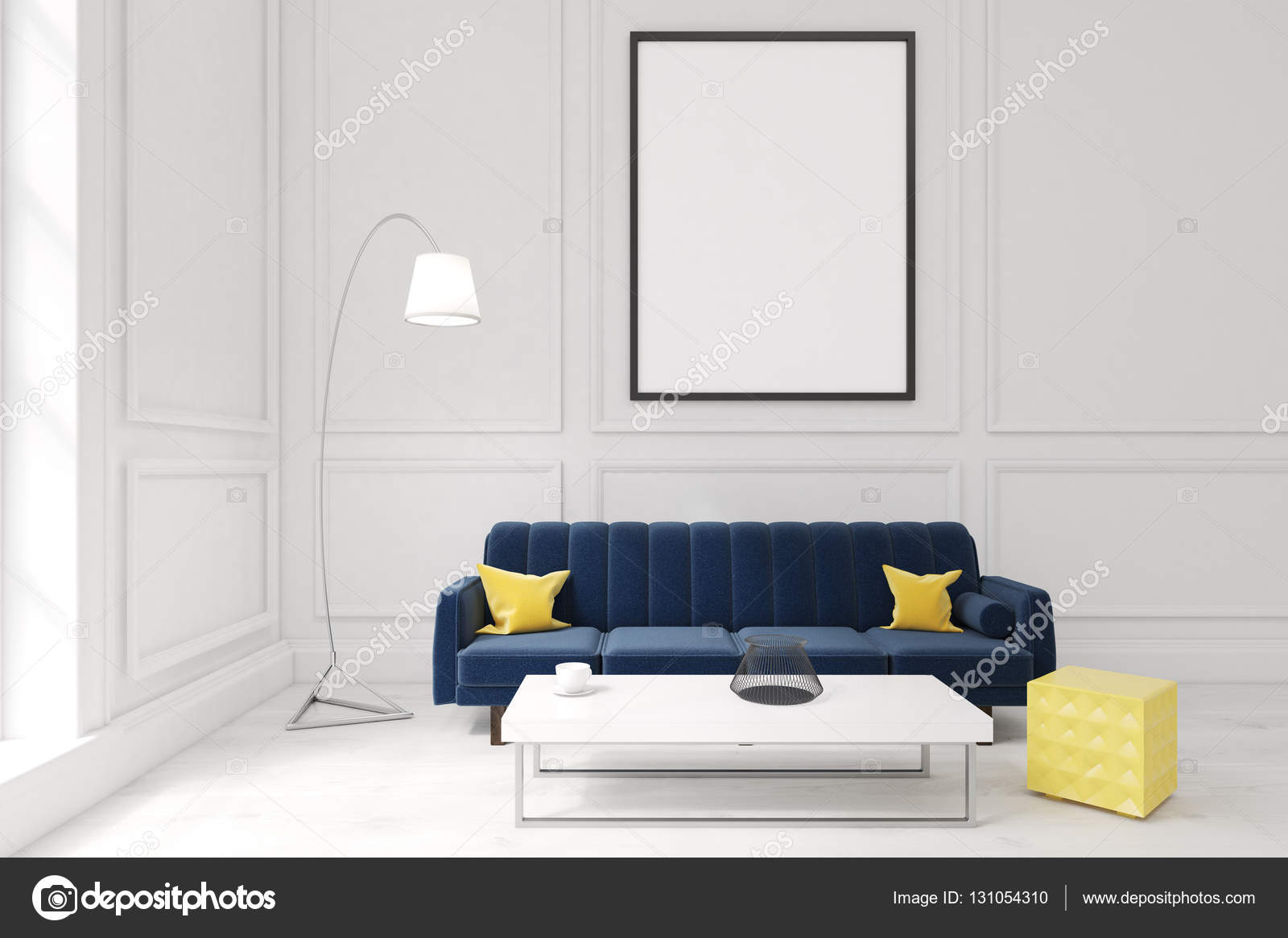 Living room with poster, dark blue sofa and a coffee table ...